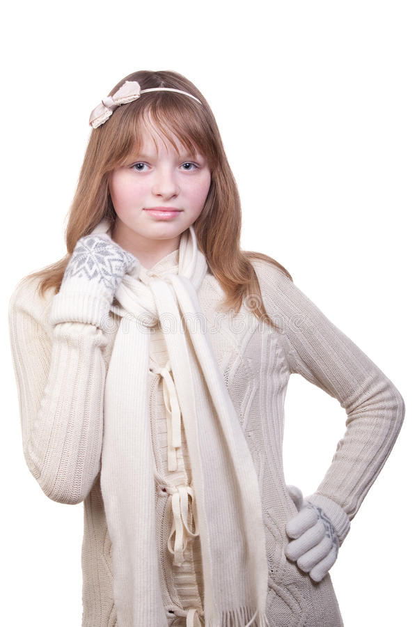 Download Young Girl In White Sweater, Scarf And Mittens Stock Images - Image: 23429514