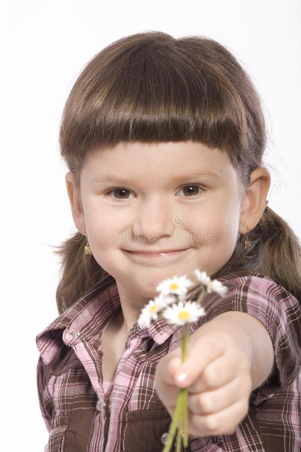 Download Young girl wiht flowers stock photo. Image of happiness - 19142470