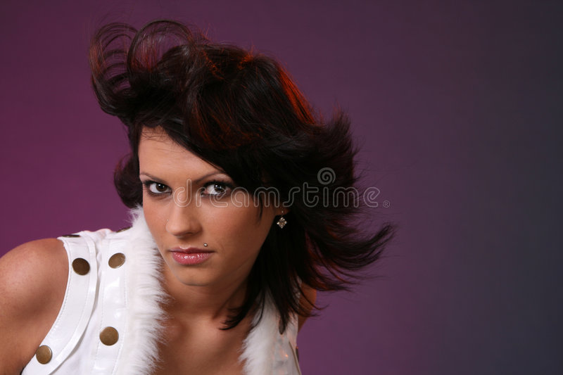 Download Young girl in the wind stock image. Image of windy, look - 1715455