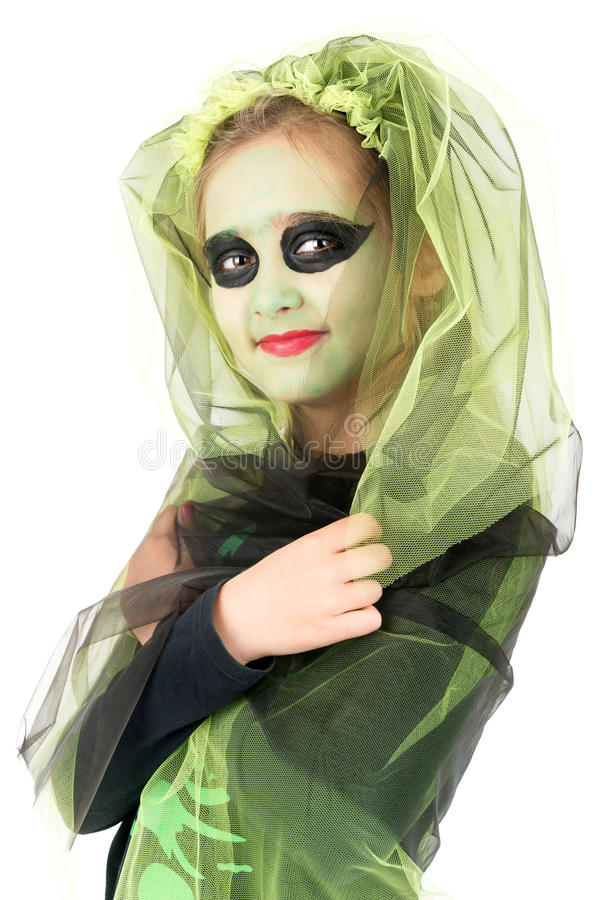 Young girl witch in Halloween royalty free stock photo