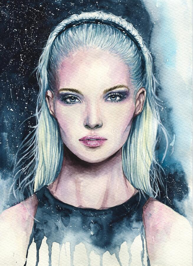 Free Young Girl With Blonde Hair Watercolor Creative Illustration Royalty Free Stock Images - 168938939