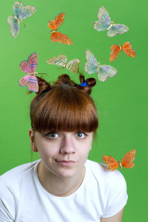 Free Young Girl With Flying Butterflies Stock Photo - 14071210