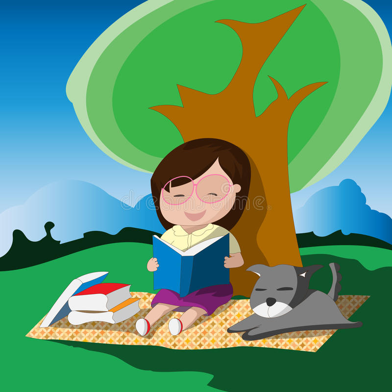 Free Young Girl With Glasses Reading A Book Below The Tree With Her Dog. Stock Photography - 74460772
