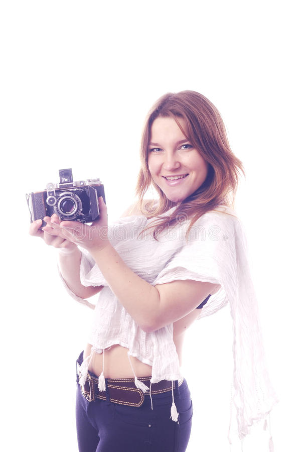 Free Young Girl With Retro Camera Stock Photography - 36794962