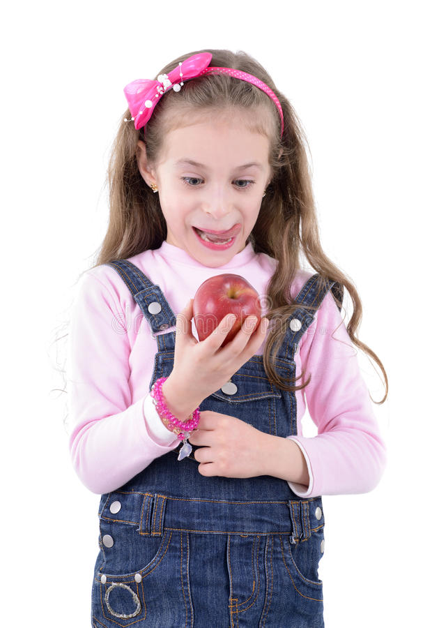 Free Young Girl With Tasty Apple Royalty Free Stock Photography - 40855707