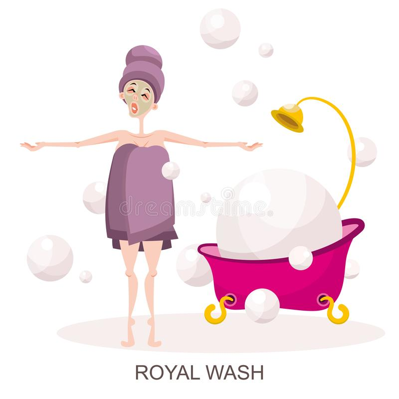 Young girl wrapped in a towel and bath royalty free illustration