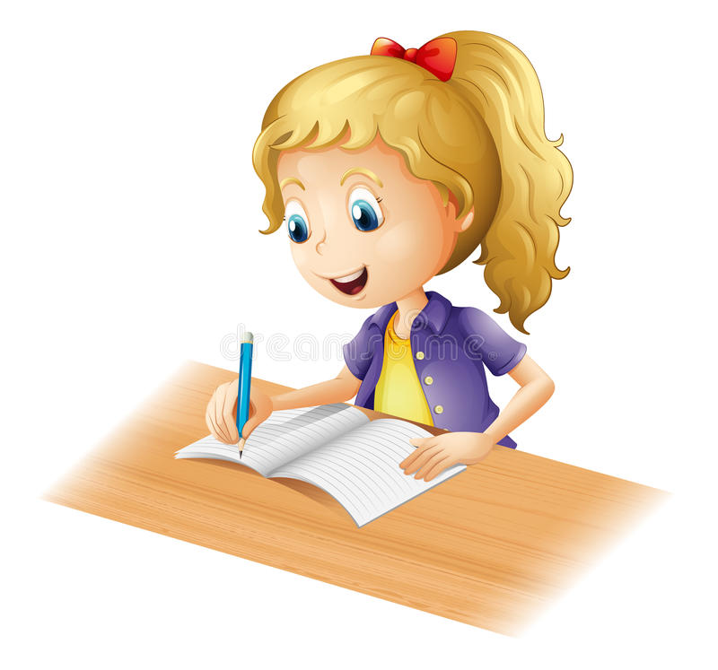A young girl writing vector illustration