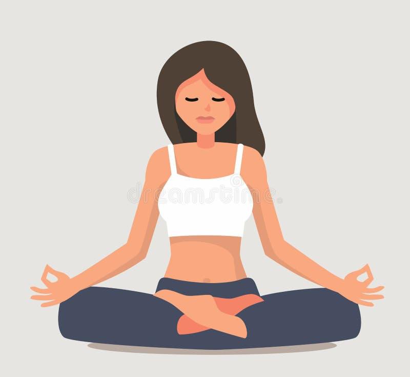 Young girl yoga posing. Flat style vector illustration vector illustration