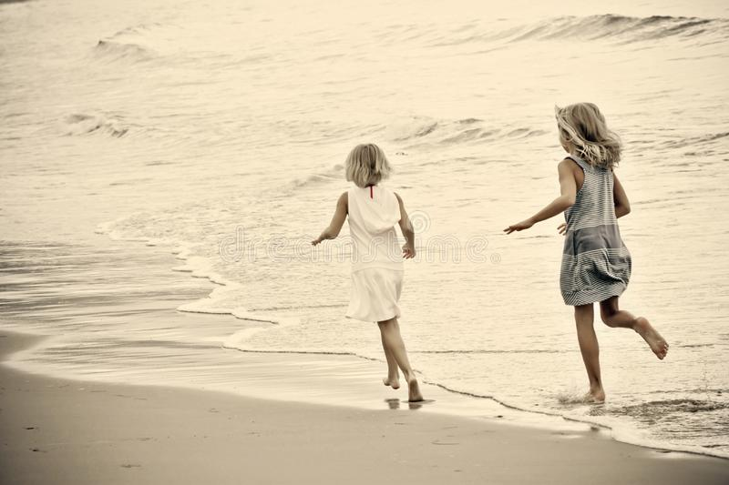Young Girls at the Beach stock photography