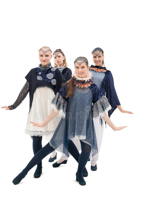 Young girls in design costumes shot royalty free stock image