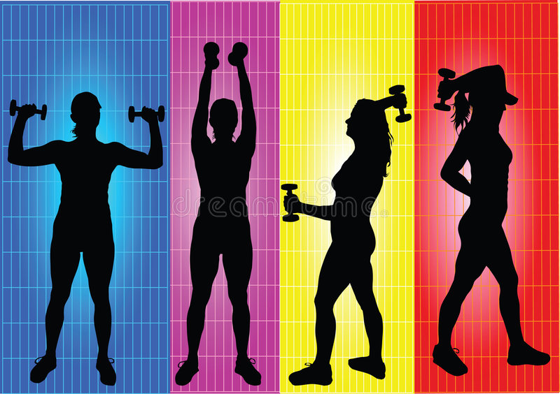 Young girls doing fitness vector illustration