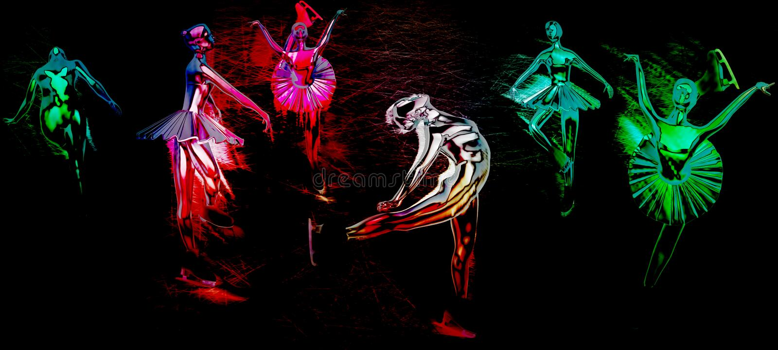 Young girls figure skating at sports arena on a dark background.  stock illustration
