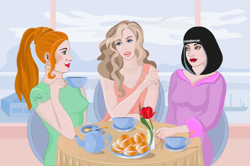 Young girls sit at a table in a cafe, talk, drink tea, eat cakes. royalty free illustration