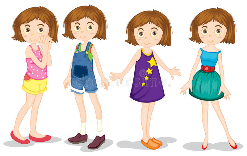 Young girls vector illustration