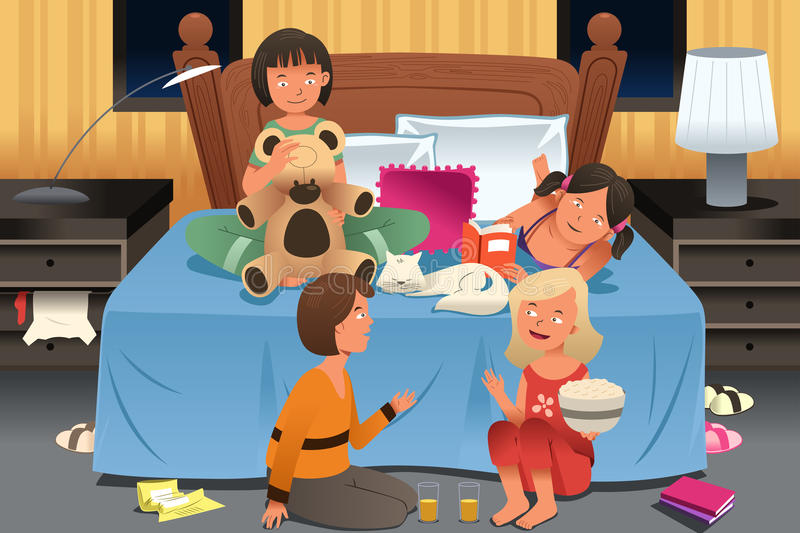 Young Girls Having a Slumber Party vector illustration