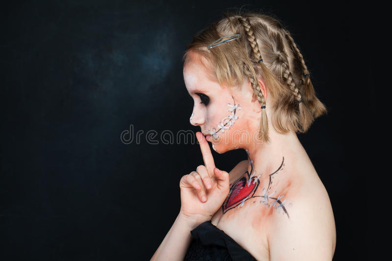 Young Girls with Love Makeup royalty free stock photos