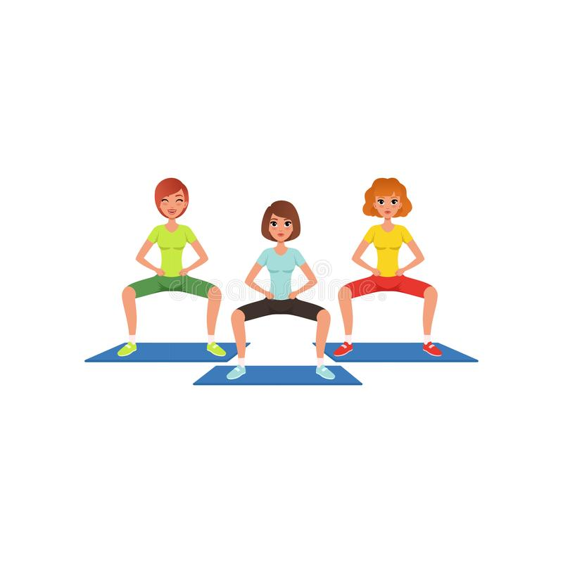 Young girls in sportswear doing squat exercise. and leg workout. Pretty women in fitness center. Cartoon people in stock illustration