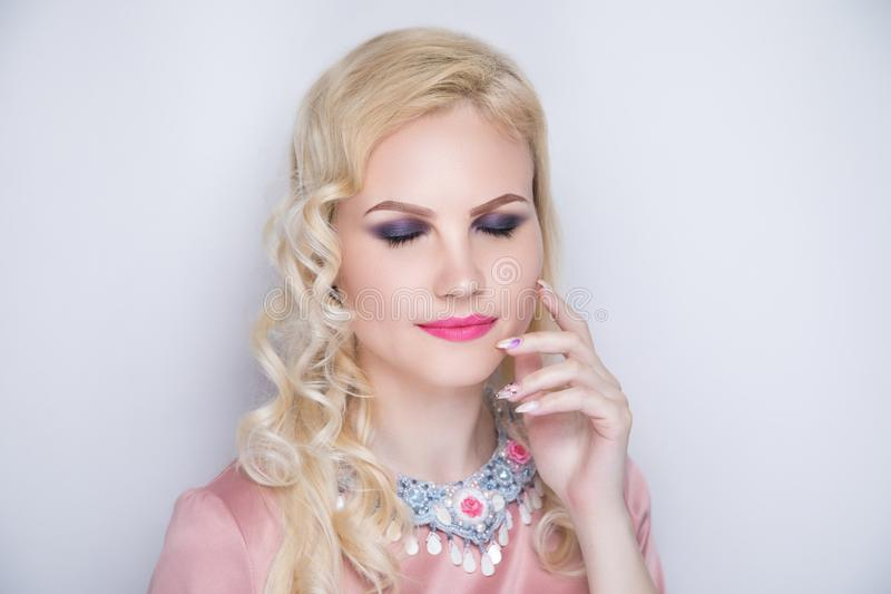 Woman beauty manicure blond hair royalty free stock image