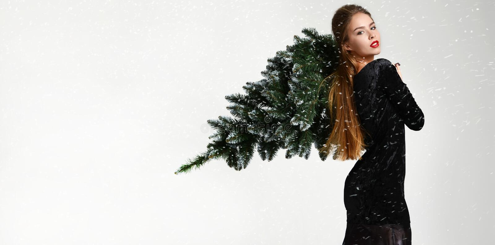 Young glamour woman with winter christmas tree decoration in fur hat skin. Young glamour russian woman with winter christmas tree decoration in fur hat skin stock image