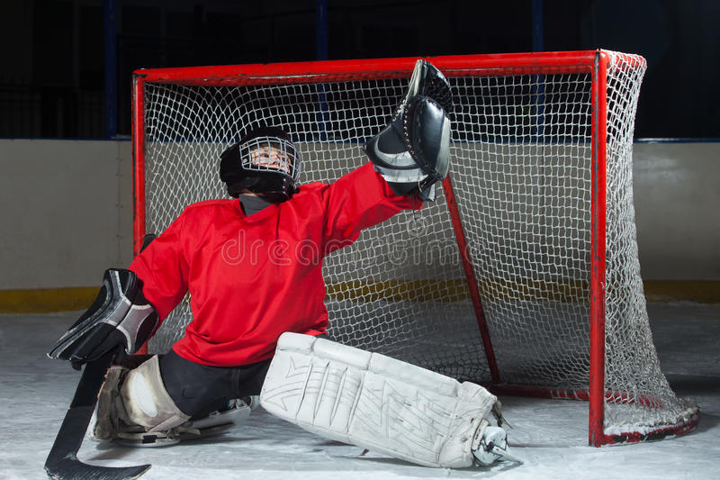 Young goalkeeper catching a puck stock photo