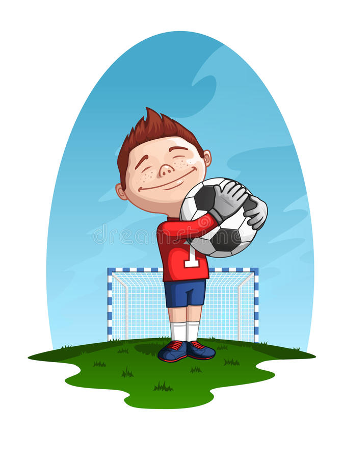 Young goalkeeper stock illustration