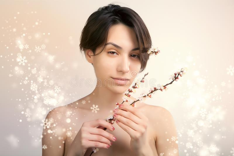 Gorgeous asian woman portrait with snowy background stock image