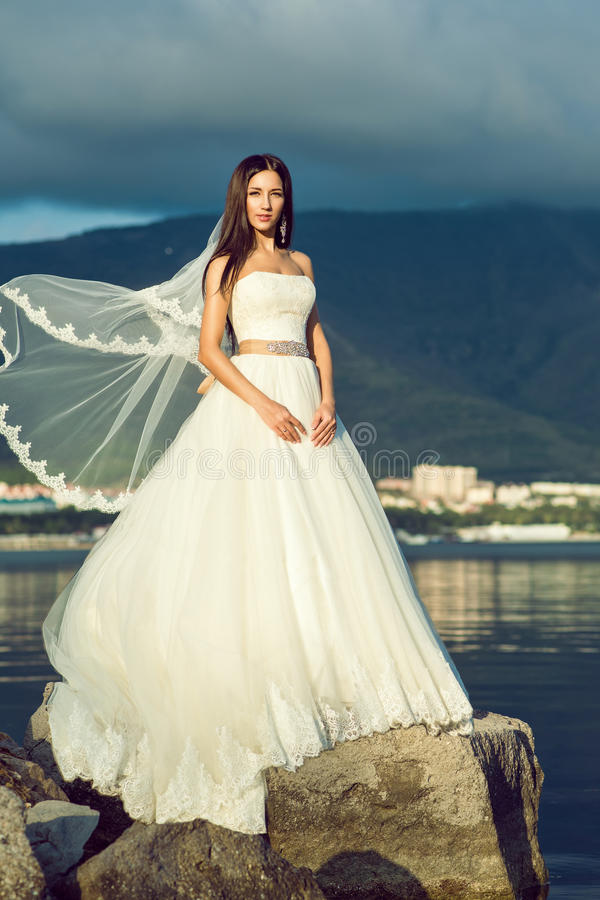 Young gorgeous bride in luxurious wedding dress standing on the cliff stock photo