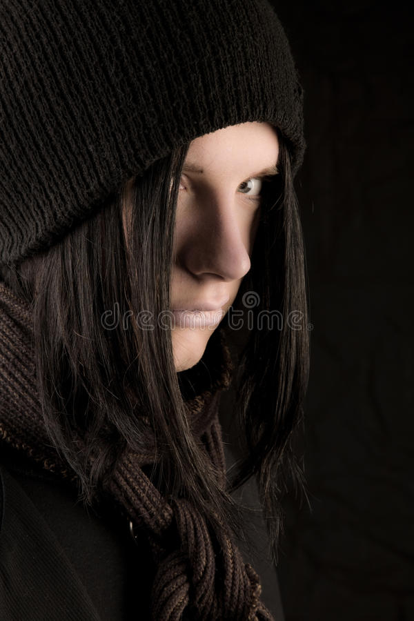 Young goth man on black royalty free stock photo