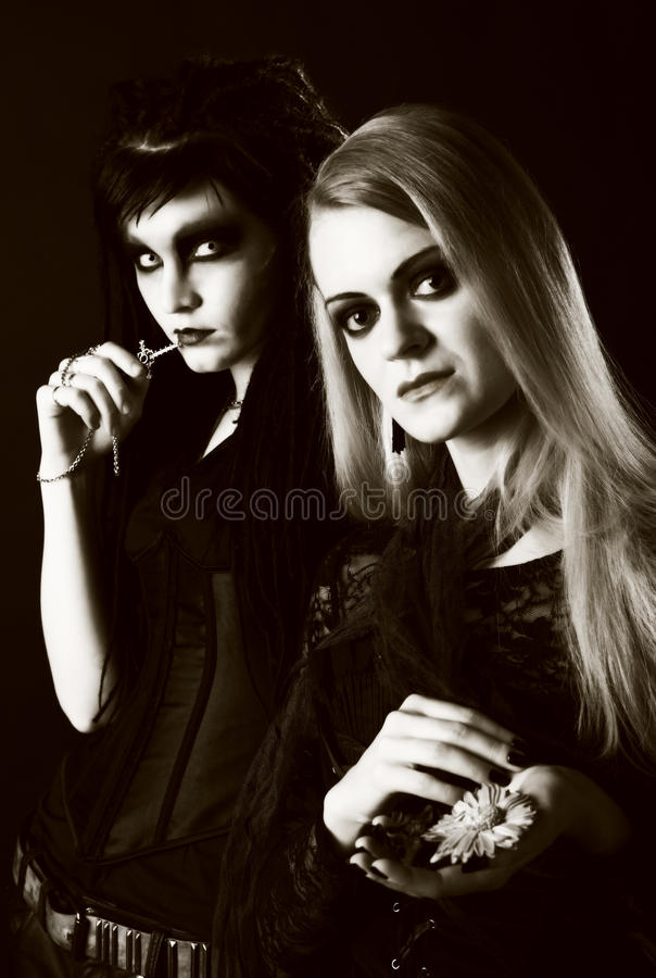 Young gothic women stock photography