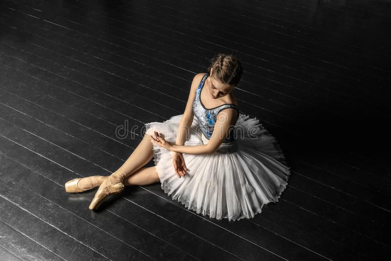 Ballerina demonstrates dance skills. Beautiful classic ballet. stock photos