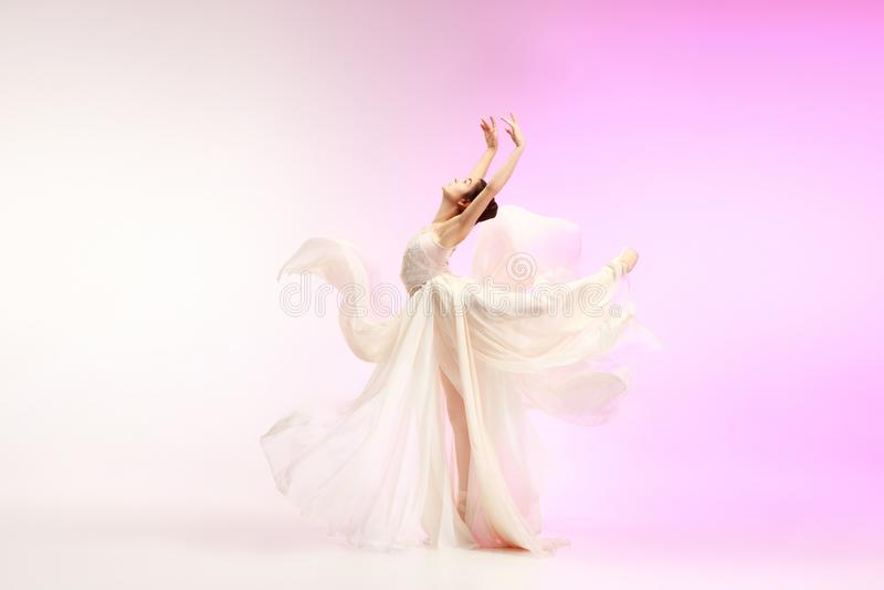 Ballerina. Young graceful female ballet dancer dancing over pink studio. Beauty of classic ballet. royalty free stock image