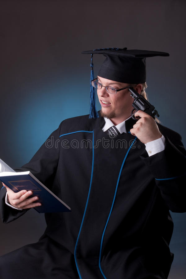 Download Young graduation man stock photo. Image of killer, problems - 18032636