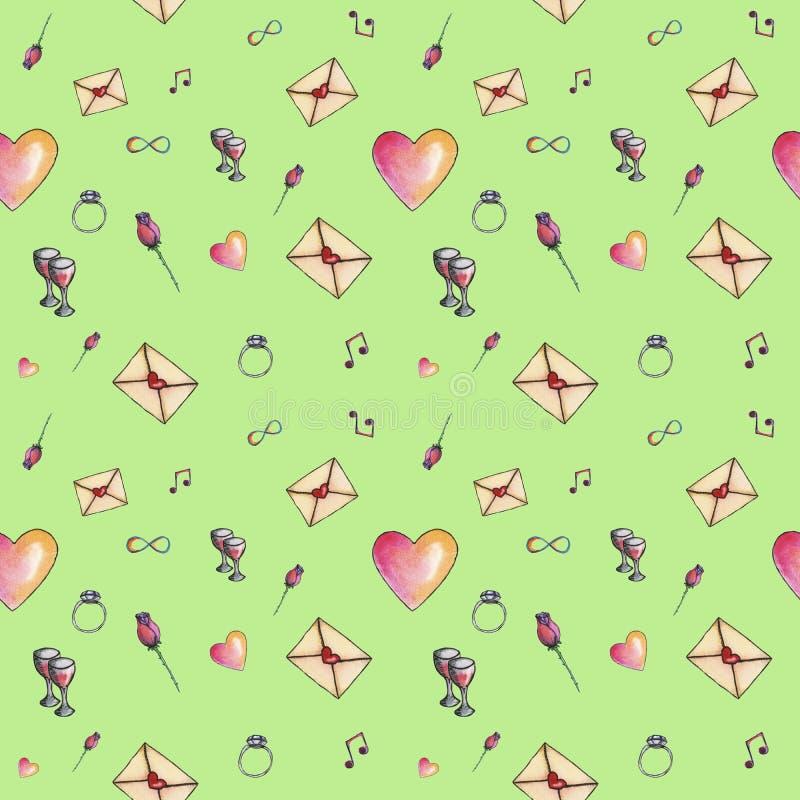 Young-green-grass cartoon valentine pattern stock photo