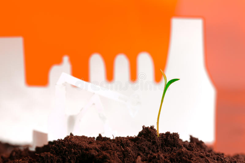 Young green plant in soil opposite factory.  stock image