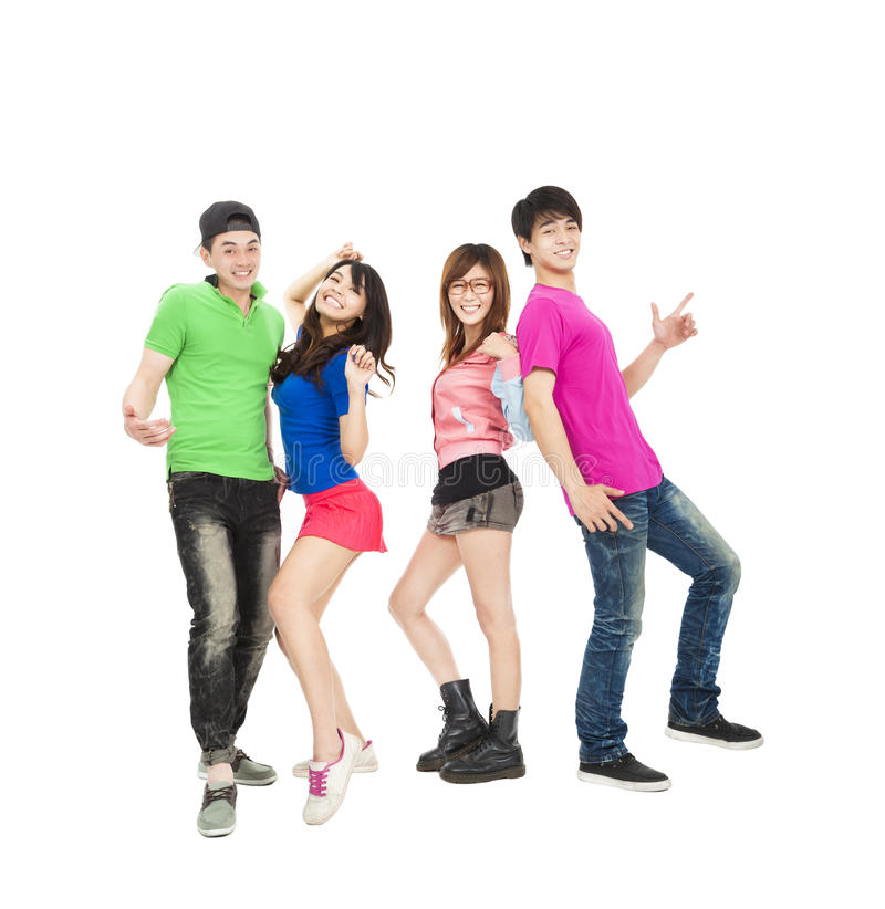Young group smiling and dancing stock images