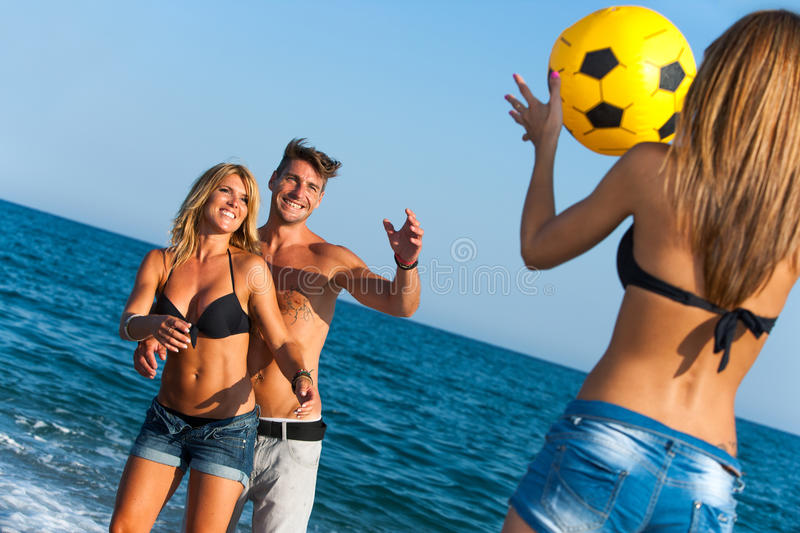 Download Young Group Of Friends Having Fun With Ball Game. Stock Image - Image: 26767737