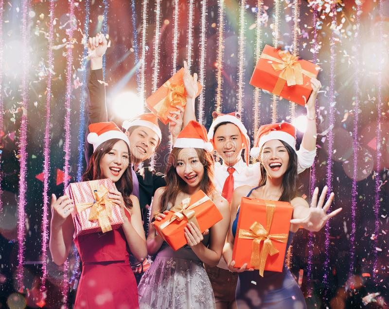 Young group having fun in christmas party stock images