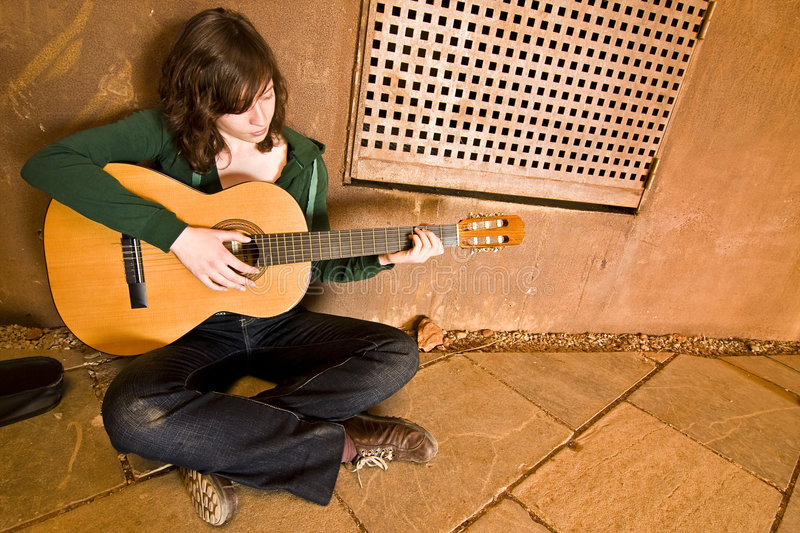 Download Young guitar performer stock image. Image of oxide, attitude - 5288965