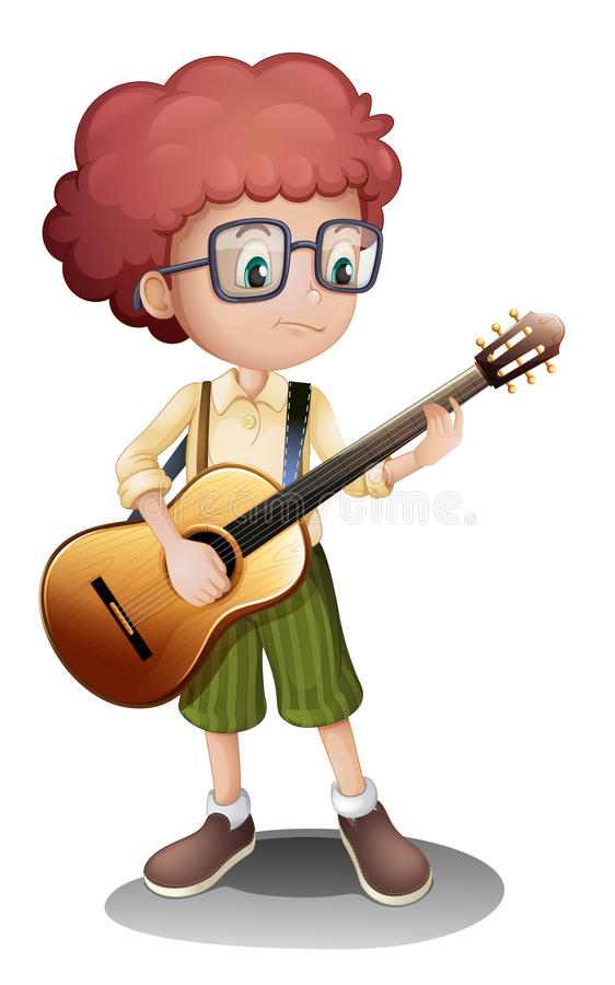 A young guitarist. Illustration of a young guitarist on a white background vector illustration