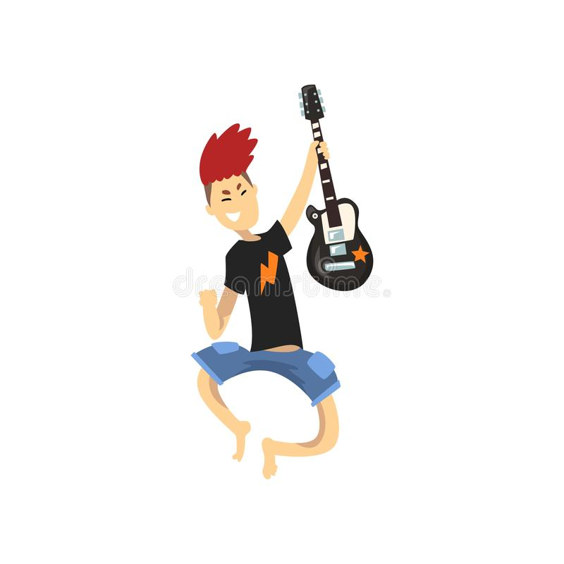 Young guitarist of rock band in jumping action. Guy with crazy hair wearing blue shorts and black t-shirt. Cartoon kid vector illustration