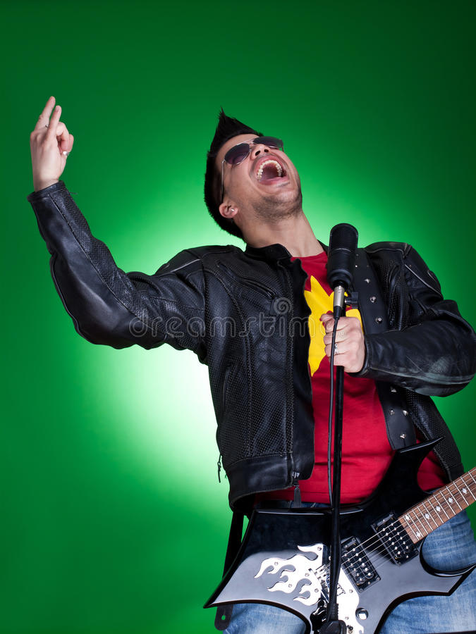 Young Guitarist Screaming Royalty Free Stock Photography