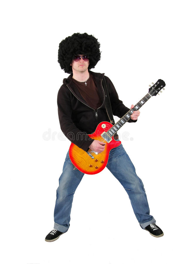 Free Young Guitarist With A Wig And Sunglasses Stock Images - 11945864