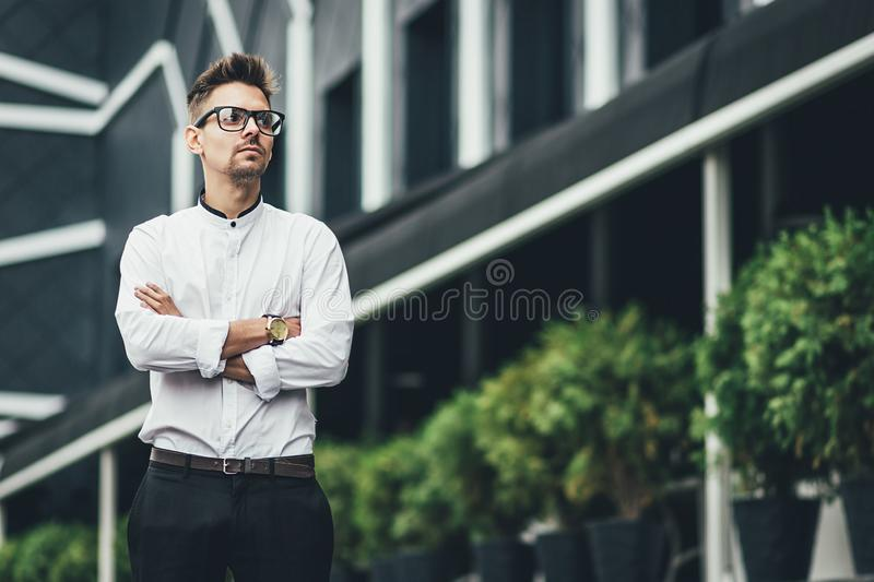 Young guy with a beard posing on the street. fashion man, style, handsome beard, outdoor portrait stock images