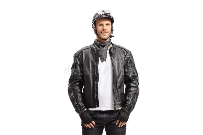 Young guy biker stock image