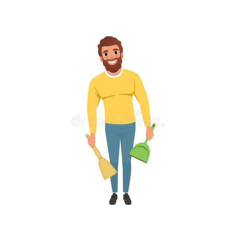 Young guy with broom and scoop in hands. Cheerful bearded man with household chores. Cartoon character of house husband royalty free illustration