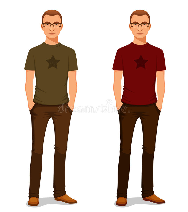 Young guy in casual clothes with glasses. Handsome young guy in casual clothes with glasses vector illustration