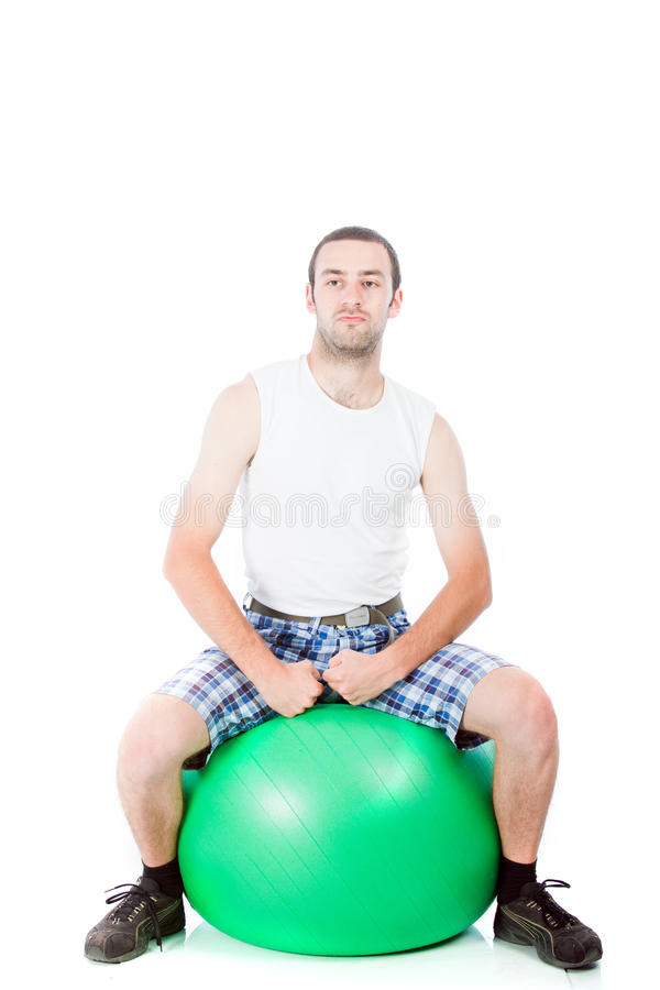 Download Young Guy On A Exercise Ball Stock Image - Image: 20076561