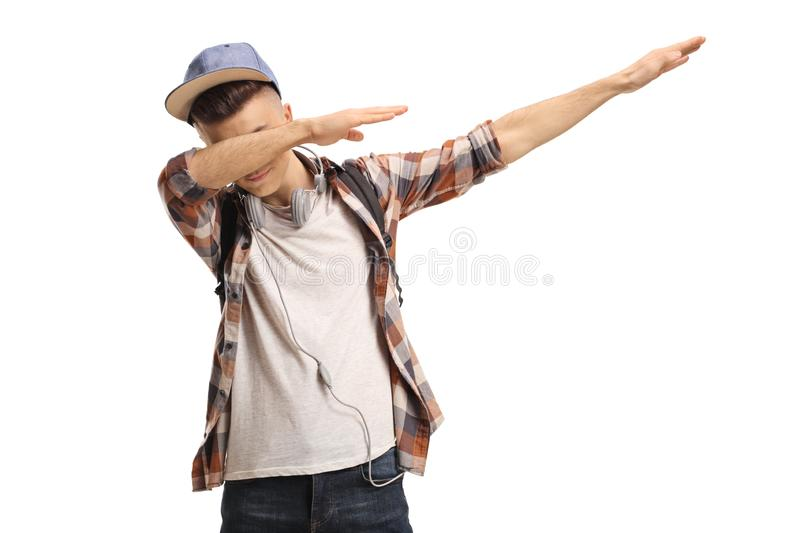 Young guy gesturing a dub move royalty free stock image