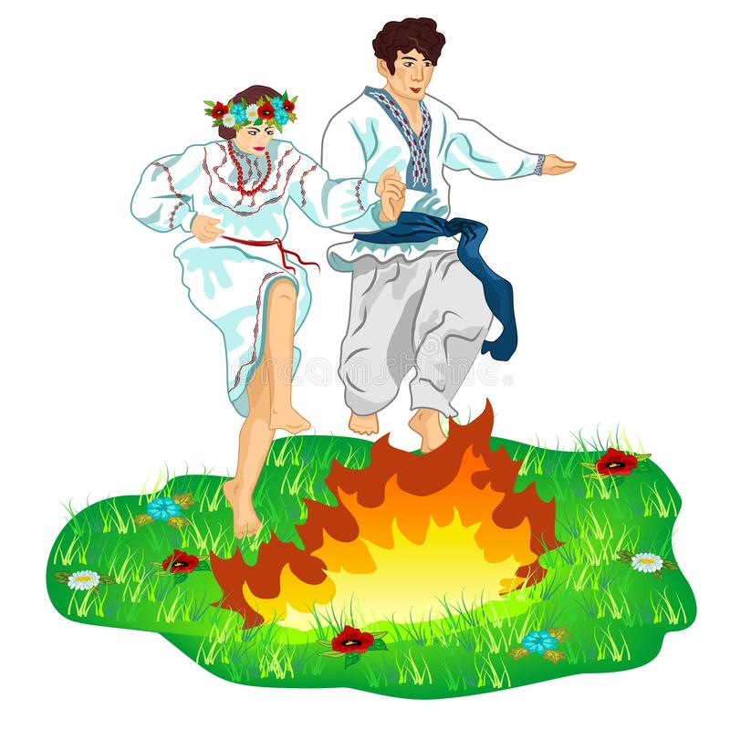 Young guy and girl in Ukrainian traditional clothes leap across a bonfire on a flower lawn. The celebration of the pagan summer. Holiday Day of Ivan Kupala in royalty free illustration