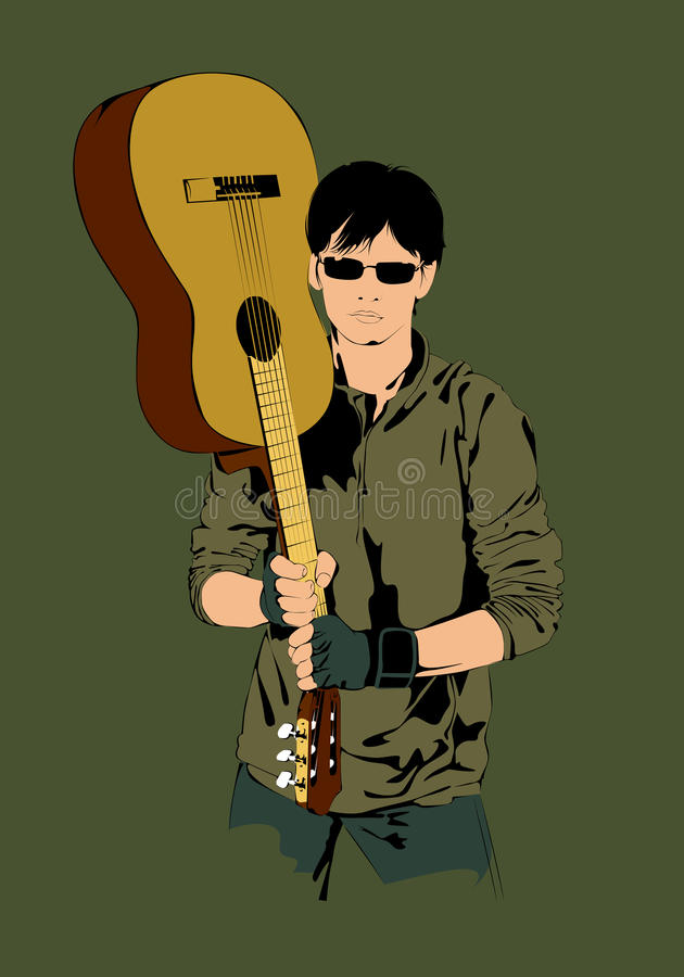 Young Guy With A Guitar Stock Images